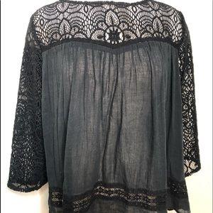 Denim Supply Boho Lace Top size XL Black